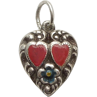 Sterling Silver Puffy Heart Charm – Double Hearts and Flower - Engraved 'Thos'