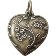 Sterling Silver Puffy Heart Charm - Spray of Forget-Me-Not Flowers - Engraved 'Chas'