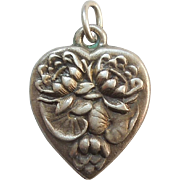Sterling Silver Puffy Heart Charm - Flower of the Month - Waterlilies