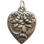 Sterling Silver Puffy Heart Charm - July Flower of the Month - Waterlilies