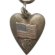 Vintage Morgan's Sterling Silver Heart-shaped Charm - American Flag