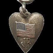 Vintage Morgan's Sterling Silver Heart-shaped Charm - American Flag