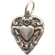 'Margie' Sterling Silver Puffy Heart Charm  -  Heart-in-Heart Repousse
