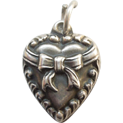 'Cherry' Sterling Silver Puffy Heart Charm - Repousse Bow