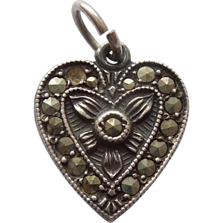 Sterling Silver Puffy Heart with Marcasites - Engraved 'AC'