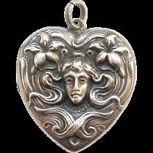 Art Nouveau Sterling Silver Repousse Heart-Shaped Locket Pendant with Woman's Face