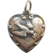 'Margaret' Sterling Silver Puffy Heart Charm - Bird Carrying Love Letter