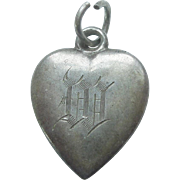 Sterling Silver Puffy Heart Charm – Engraved Initial 'W'