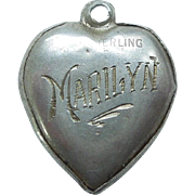 Sterling Silver Puffy Heart Charm - Etched Bird - Engraved 'Marilyn'