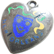 Rare New Orleans Mardi Gras Victorian Sterling Silver Puffy Heart