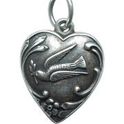 'Leo' Sterling Silver Puffy Heart Charm - Dove and Olive Twig