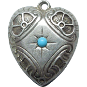 Sterling Silver Puffy Heart Charm - Turquoise Blue Stone