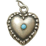 Sterling Silver Puffy Heart Charm Locket with Turquoise Paste - Engraved 'BR 42'