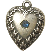 Sterling Silver Puffy Heart Charm - Repousse Fleurs-de-Lis Border with Blue Stone - Engraved 'Hope'