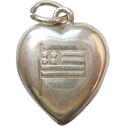 Sterling Silver Puffy Heart Charm - Flag - Engraved 'Dad'