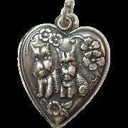 Sterling Silver Puffy Heart Charm - Scottie Dogs