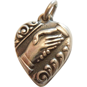 Sterling Silver Puffy Heart Charm - Clasped Hands / Friendship Handshake - Engraved 'Mama'
