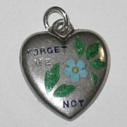 """Victorian Sterling Silver Puffy Heart Charm Enamel """"Forget Me Not"""" ~ Engraved 'C.O.'"""