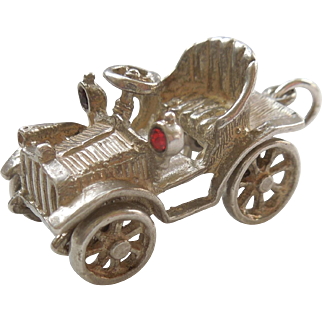 CHIM Sterling Silver Antique Auto / Car / Ford Model T with Red Rhinestone Headlights - Chunky English Charm - Mechanical / Moving Parts