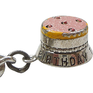 Sterling Silver 3D Pink Enamel Birthday Cake Charm - Movable - JMF