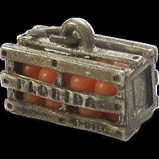 Sterling Silver Florida Orange Crate Souvenir Charm by Beau