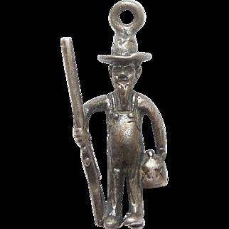 Vintage 3D Charm - Hillbilly Moonshiner Man with a Shotgun and Liquor Jug