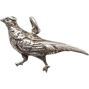 Vintage Sterling Silver Puffy Grouse or Pheasant Bird Charm