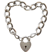 Sterling Silver 1940s Puffy Heart Padlock Clasp and Bracelet - Star B Hallmark - B.A. Ballou