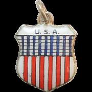 U.S.A. United States of America Vintage Enamel and 800 Silver Souvenir Travel Shield Charm USA