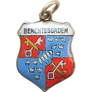 Coat of Arms for Berchtesgaden Bavarian Alps Germany Vintage Enamel and 800 Silver Souvenir Travel Shield Charm