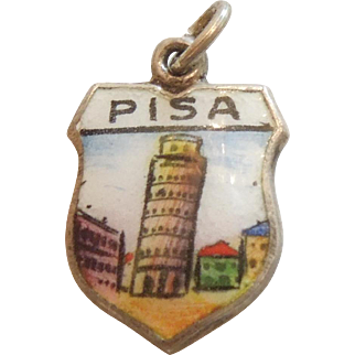 Leaning Tower of Pisa in Italy - Vintage Enamel and 835 Silver Souvenir Travel Shield Charm