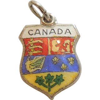 Canada - Vintage Enamel and 925 Sterling Silver Souvenir Travel Shield Charm