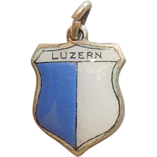 Luzern / Lucerne Switzerland - Vintage Enamel and 800 Silver Souvenir Travel Shield Charm