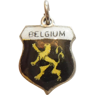 BELGIUM - Vintage Enamel and Sterling Silver Souvenir Travel Shield Charm