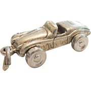 Sterling Silver 3D Roadster / Car / Automobile Charm with Turning Wheels