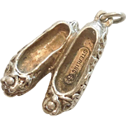 Vintage 3D Sterling Silver Pair of Ballet Slippers / Shoes - Ballerina Dancer - by Felch Company / Danecraft