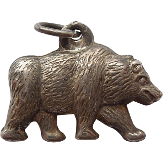 Sterling Silver 1940s Puffy Bear Charm