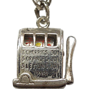 Sterling Silver 3D One-armed Bandit Working Slot Machine - Wells Tophat Mechanical Gambling Charm