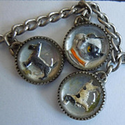 NINE Reverse Painted Intaglio Glass Bubble Charms - Dogs and Horses - Sterling Charm Bracelet