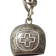 Vintage Swiss Cowbell Charm 800 Silver