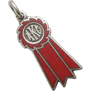 AKC Dog Show Winner's Sterling Silver and Enamel Ribbon Charm – Red Ribbon 2nd Place