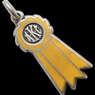 AKC Dog Show Winner's Sterling Silver and Enamel Ribbon Charm – Yellow Ribbon 3rd Place