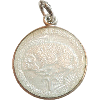 Aries, the Ram, Sterling Silver and Enamel Zodiac Charm or Pendant - Charles Thomae