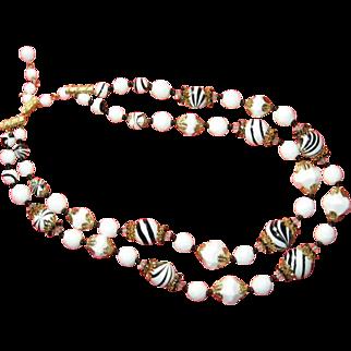 Coro Vendome Zebra-striped Double Strand Art Glass Necklace