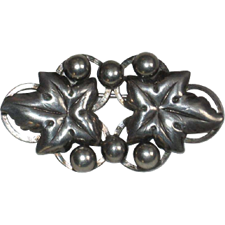 Hermann Siersbol Danish Sterling Silver Leaf and Ball Pin