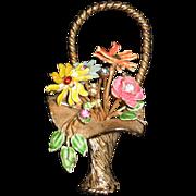 Enamel and Rhinestone Flower Basket Pin