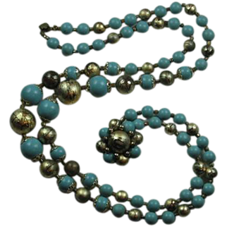 Double-strand Necklace - Turquoise Blue and Gold/Black Beads