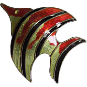 David Andersen D-A Sterling Silver and Guilloche Enamel Tropical Fish Pin - Norway
