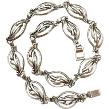 Ella L Cone Handwrought Sterling Silver Necklace - Leaf and Berry Design