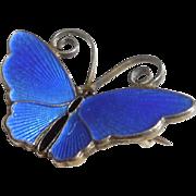 David-Andersen Norway Sterling Silver Blue Guilloche Enamel Butterfly Pin